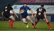 8 January 2021; Robbie Henshaw of Leinster in action against Greg Jones and Stuart McCloskey of Ulster during the Guinness PRO14 match between Leinster and Ulster at the RDS Arena in Dublin. Photo by Brendan Moran/Sportsfile