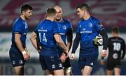 8 January 2021; Jonathan Sexton of Leinster, right, speaks to team-mates Ross Byrne, Jordan Larmour and Rhys Ruddock during the Guinness PRO14 match between Leinster and Ulster at the RDS Arena in Dublin. Photo by Brendan Moran/Sportsfile