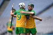 22 November 2020; Donegal players Gerard Gilmore, right, and Ronan McDermott celebrate after the Nickey Rackard Cup Final match between Donegal and Mayo at Croke Park in Dublin. Photo by Piaras Ó Mídheach/Sportsfile