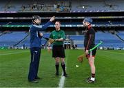 22 November 2020; Referee Chris Mooney with team captains Brian Byrne of Kildare and Stephen Keith of Down prior to the Christy Ring Cup Final match between Down and Kildare at Croke Park in Dublin. Photo by Piaras Ó Mídheach/Sportsfile