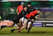 9 January 2021; Chris Farrell of Munster dives over to score his side's first try during the Guinness PRO14 match between Connacht and Munster at the Sportsground in Galway. Photo by Sam Barnes/Sportsfile