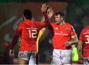 9 January 2021; Peter O'Mahony of Munster, right, celebrates with team-mate Damian de Allende after their side win possession during the Guinness PRO14 match between Connacht and Munster at the Sportsground in Galway. Photo by Sam Barnes/Sportsfile