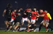 9 January 2021; Chris Farrell of Munster is tackled by Conor Oliver of Connacht during the Guinness PRO14 match between Connacht and Munster at the Sportsground in Galway. Photo by David Fitzgerald/Sportsfile
