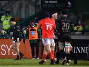 9 January 2021; Bundee Aki of Connacht acting as water carrier during the Guinness PRO14 match between Connacht and Munster at the Sportsground in Galway. Photo by Sam Barnes/Sportsfile