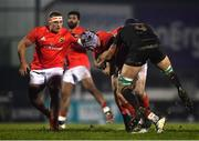 9 January 2021; Fineen Wycherley of Munster is tackled by Ultan Dillane of Connacht during the Guinness PRO14 match between Connacht and Munster at the Sportsground in Galway. Photo by Sam Barnes/Sportsfile