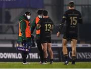 9 January 2021; Bundee Aki of Connacht acting as water carrier speaking with team-mate Sammy Arnold during the Guinness PRO14 match between Connacht and Munster at the Sportsground in Galway. Photo by David Fitzgerald/Sportsfile