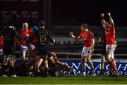 9 January 2021; Munster players celebrate at the final whistle during the Guinness PRO14 match between Connacht and Munster at the Sportsground in Galway. Photo by David Fitzgerald/Sportsfile