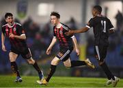 21 December 2020; Aaron Doran of Bohemians, centre, celebrates with team-mates after scoring his side's first goal during the SSE Airtricity U17 National League Final match between Shamrock Rovers and Bohemians at the UCD Bowl in Dublin. Photo by Sam Barnes/Sportsfile