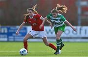 23 December 2020; Eva Managan of Cork City in action against Orla O'Mahony of Shamrock Rovers during the Women's Under-17 National League Final match between Shamrock Rovers and Cork City at Athlone Town Stadium in Athlone, Westmeath. Photo by Sam Barnes/Sportsfile
