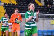 23 December 2020; Jessie Stapleton of Shamrock Rovers leads out her team ahead of the Women's Under-17 National League Final match between Shamrock Rovers and Cork City at Athlone Town Stadium in Athlone, Westmeath. Photo by Sam Barnes/Sportsfile