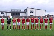 23 December 2020; The Cork City team ahead of the Women's Under-17 National League Final match between Shamrock Rovers and Cork City at Athlone Town Stadium in Athlone, Westmeath. Photo by Sam Barnes/Sportsfile