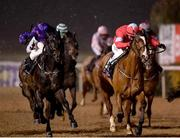 11 January 2021; Red Heel, right, with Gary Carroll up, leads eventual second place Masalai, left, with Conor Hoban, on their way to winning the Join Us On Instagram @dundalk_stadium Handicap DIV I at Dundalk Stadium, in Louth. Photo by Seb Daly/Sportsfile