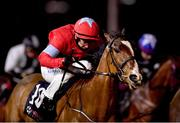 11 January 2021; Red Heel, with Gary Carroll up, on their way to winning the Join Us On Instagram @dundalk_stadium Handicap DIV I at Dundalk Stadium, in Louth. Photo by Seb Daly/Sportsfile