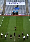 20 December 2020; Sportsfile photographer Brendan Moran takes a picture of the officials ahead of the TG4 All-Ireland Senior Ladies Football Championship Final match between Cork and Dublin at Croke Park in Dublin. Photo by Sam Barnes/Sportsfile