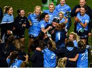 20 December 2020; Dublin manager Mick Bohan celebrates with his players following his side's victory in the TG4 All-Ireland Senior Ladies Football Championship Final match between Cork and Dublin at Croke Park in Dublin. Photo by Sam Barnes/Sportsfile