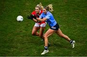 20 December 2020; Jennifer Dunne of Dublin in action against Máire O'Callaghan of Cork during the TG4 All-Ireland Senior Ladies Football Championship Final match between Cork and Dublin at Croke Park in Dublin. Photo by Sam Barnes/Sportsfile