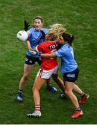 20 December 2020; Máire O'Callaghan of Cork in action against Aoife Kane, left, and Noelle Healy of Dublin during the TG4 All-Ireland Senior Ladies Football Championship Final match between Cork and Dublin at Croke Park in Dublin. Photo by Sam Barnes/Sportsfile