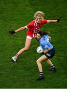 20 December 2020; Lyndsey Davey of Dublin in action against Máire O'Callaghan of Cork during the TG4 All-Ireland Senior Ladies Football Championship Final match between Cork and Dublin at Croke Park in Dublin. Photo by Sam Barnes/Sportsfile