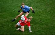 20 December 2020; Eimear Kiely of Cork in action against Lauren Magee of Dublin during the TG4 All-Ireland Senior Ladies Football Championship Final match between Cork and Dublin at Croke Park in Dublin. Photo by Sam Barnes/Sportsfile