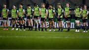 20 December 2020; The Connacht team, from left, Conor Oliver, Denis Buckley, Dave Heffernan, Alex Wootton, Ultan Dillane, Finlay Bealham, Bundee Aki, John Porch, Sean Masterson, Eoghan Masterson and Kieran Marmion during a minute's silence ahead of the Heineken Champions Cup Pool B Round 2 match between Connacht and Bristol Bears at the Sportsground in Galway. Photo by Ramsey Cardy/Sportsfile