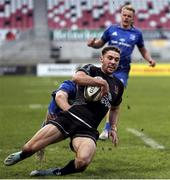 15 January 2021; Aaron Sexton of Ulster A scores his side's first try during the A Interprovincial match between Ulster A and Leinster A at Kingspan Stadium in Belfast. Photo by John Dickson/Sportsfile