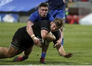 15 January 2021; Callum Reid of Ulster A scores his side's second try depite the tackle of Marcus Hanan of Leinster A during the A Interprovincial match between Ulster A and Leinster A at Kingspan Stadium in Belfast. Photo by John Dickson/Sportsfile