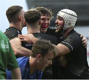 15 January 2021; Aaron Sexton of Ulster A celebrates with team-mates after scoring his side's third try during the A Interprovincial match between Ulster A and Leinster A at Kingspan Stadium in Belfast. Photo by John Dickson/Sportsfile