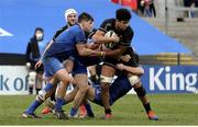 15 January 2021; Cormac Izuchukwu of Ulster A is tackled by Dan Sheehan, left, and Max O'Reilly of Leinster A during the A Interprovincial match between Ulster A and Leinster A at Kingspan Stadium in Belfast. Photo by John Dickson/Sportsfile