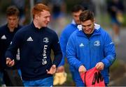 18 January 2021; Ciarán Frawley, left, and Jordan Larmour during Leinster Rugby squad training at UCD in Dublin. Photo by Ramsey Cardy/Sportsfile