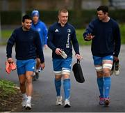 18 January 2021; Cian Kelleher, left, Dan Leavy, centre, and James Ryan during Leinster Rugby squad training at UCD in Dublin. Photo by Ramsey Cardy/Sportsfile