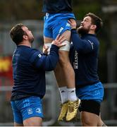 18 January 2021; Ed Byrne, left, and Andrew Porter during Leinster Rugby squad training at UCD in Dublin. Photo by Ramsey Cardy/Sportsfile
