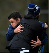 18 January 2021; James Ryan is tackled by Athletic performance intern Robin Reidy during Leinster Rugby squad training at UCD in Dublin. Photo by Ramsey Cardy/Sportsfile