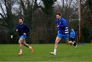 18 January 2021; Cian Kelleher, left, and Ross Byrne during Leinster Rugby squad training at UCD in Dublin. Photo by Ramsey Cardy/Sportsfile