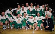 8 June 1994; The Ireland team celebrate with the cup after the 1994 Promotions Cup Final match between Ireland and Cyprus at the National Basketball Arena in Tallaght, Dublin. Photo by Ray McManus/Sportsfile