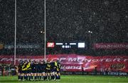 23 January 2021; The Leinster team huddles as snow falls prior to the Guinness PRO14 match between Munster and Leinster at Thomond Park in Limerick. Photo by Eóin Noonan/Sportsfile