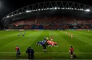23 January 2021; A general view of a scrum during the Guinness PRO14 match between Munster and Leinster at Thomond Park in Limerick. Photo by Ramsey Cardy/Sportsfile