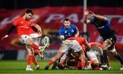 23 January 2021; Conor Murray of Munster kicks as James Ryan of Leinster comes to challenge during the Guinness PRO14 match between Munster and Leinster at Thomond Park in Limerick. Photo by Eóin Noonan/Sportsfile