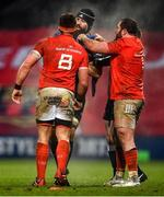 23 January 2021; Scott Fardy of Leinster with Munster players CJ Stander, left, and James Cronin during the Guinness PRO14 match between Munster and Leinster at Thomond Park in Limerick. Photo by Eóin Noonan/Sportsfile