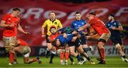 23 January 2021; Jordan Larmour of Leinster is tackled by Conor Murray and CJ Stander of Munster during the Guinness PRO14 match between Munster and Leinster at Thomond Park in Limerick. Photo by Eóin Noonan/Sportsfile