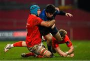 23 January 2021; Jimmy O'Brien of Leinster is tackled by Tadhg Beirne of Munster during the Guinness PRO14 match between Munster and Leinster at Thomond Park in Limerick. Photo by Ramsey Cardy/Sportsfile