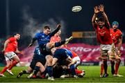 23 January 2021; Luke McGrath of Leinster clears his lines under pressure from Jean Kleyn of Munster during the Guinness PRO14 match between Munster and Leinster at Thomond Park in Limerick. Photo by Eóin Noonan/Sportsfile