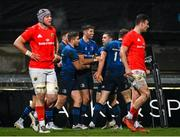 23 January 2021; Jordan Larmour of Leinster celebrates with team-mates Ross Byrne and Luke McGrath after scoring their side's first try during the Guinness PRO14 match between Munster and Leinster at Thomond Park in Limerick. Photo by Ramsey Cardy/Sportsfile