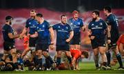 23 January 2021; Leinster players, from left, Tom Clarkson, Ross Molony, Rónan Kelleher, Ed Byrne, Josh van der Flier, Andrew Porter and James Ryan celebrate at the final whistle of the Guinness PRO14 match between Munster and Leinster at Thomond Park in Limerick. Photo by Eóin Noonan/Sportsfile