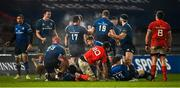 23 January 2021; Leinster players, including Jack Conan, James Ryan, Ed Byrne and Ross Molony, celebrate at the final whistle of the Guinness PRO14 match between Munster and Leinster at Thomond Park in Limerick. Photo by Ramsey Cardy/Sportsfile