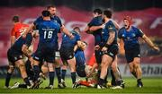 23 January 2021; Leinster players, from left, Ross Molony, Rónan Kelleher, Andrew Porter and Josh van der Flier celebrate at the final whistle of the Guinness PRO14 match between Munster and Leinster at Thomond Park in Limerick. Photo by Eóin Noonan/Sportsfile