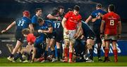 23 January 2021; Leinster players celebrate at the final whistle of the Guinness PRO14 match between Munster and Leinster at Thomond Park in Limerick. Photo by Ramsey Cardy/Sportsfile