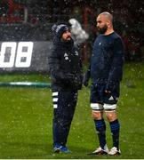 23 January 2021; Scott Fardy of Leinster in conversatrion with Leinster Senior Athletic Performance coach Cillian Reardon prior to the Guinness PRO14 match between Munster and Leinster at Thomond Park in Limerick. Photo by Ramsey Cardy/Sportsfile