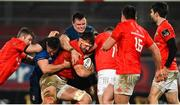 23 January 2021; Jean Kleyn of Munster is tackled by Rónan Kelleher, left, and James Ryan of Leinster during the Guinness PRO14 match between Munster and Leinster at Thomond Park in Limerick. Photo by Ramsey Cardy/Sportsfile