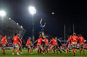 23 January 2021; Scott Fardy of Leinster wins a lineout during the Guinness PRO14 match between Munster and Leinster at Thomond Park in Limerick. Photo by Eóin Noonan/Sportsfile