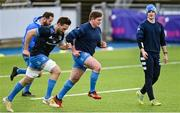 25 January 2021; Jack Conan, left, and Tadhg Furlong, watched by sports scientist Jack O'Brien, during Leinster Rugby squad training at Energia Park in Dublin. Photo by Ramsey Cardy/Sportsfile